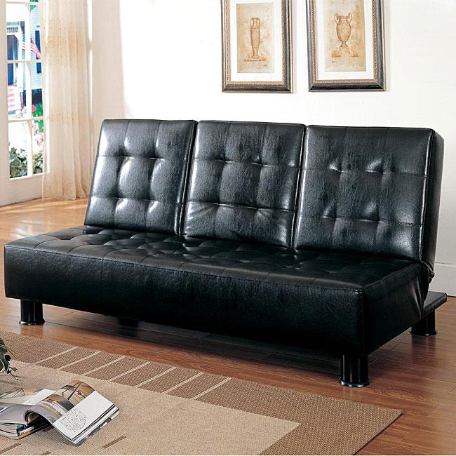 Shop Modern Black Faux Bi Cast Leather Tufted Sofa Bed