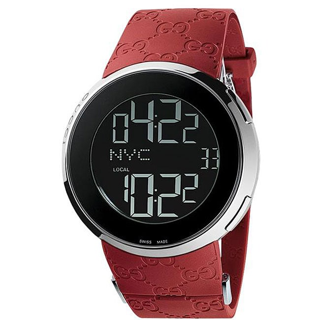 Gucci Men's 114 I Red GG Rubber Digital Watch