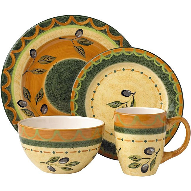 Pfaltzgraff Everyday 16 piece Tuscan Olive Dinnerware