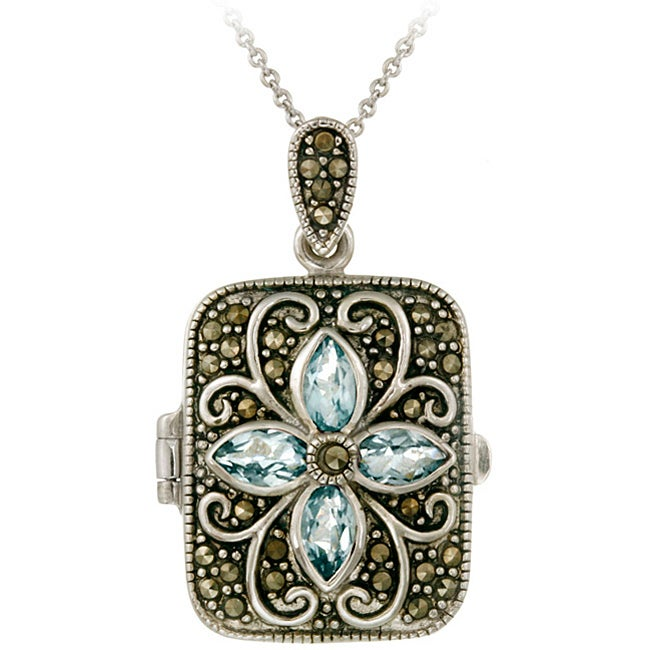 Glitzy Rocks Sterling Silver Marcasite and Blue Topaz Locket Necklace