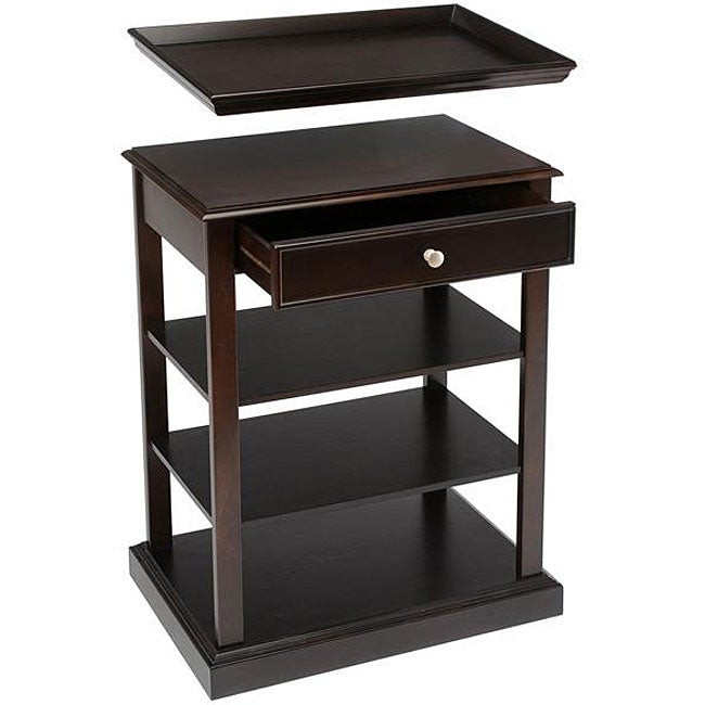 Bay Shore Collection 3-shelf Accent Table with Serving Tray - Free Shipping Today - Overstock ...