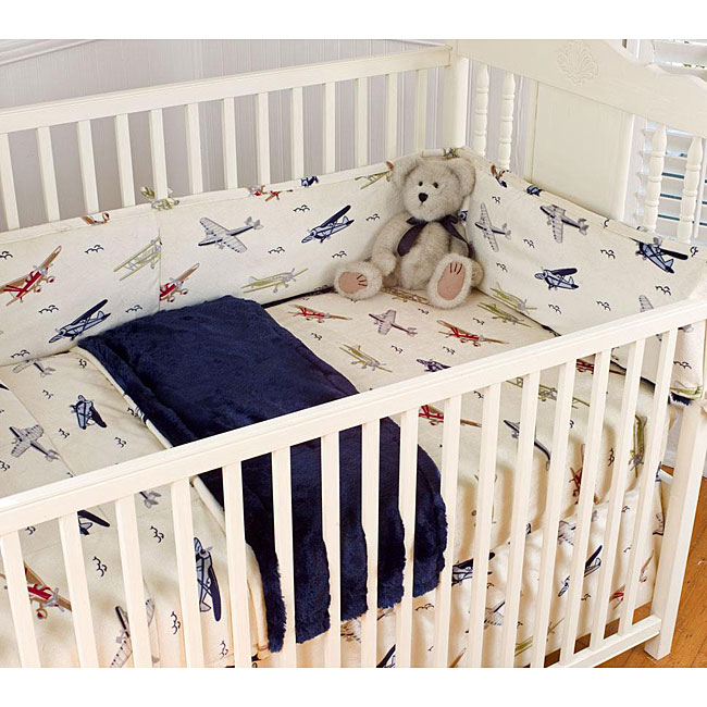 Vintage Airplanes Blue 4 Piece Crib Bedding Set Free