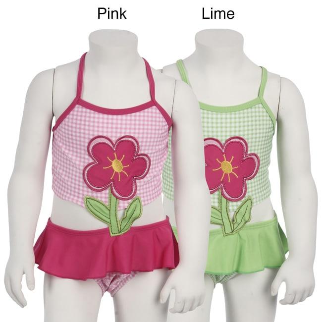 Pink Platinum Infant Girls' Cross-strap Flower Bathing Suit