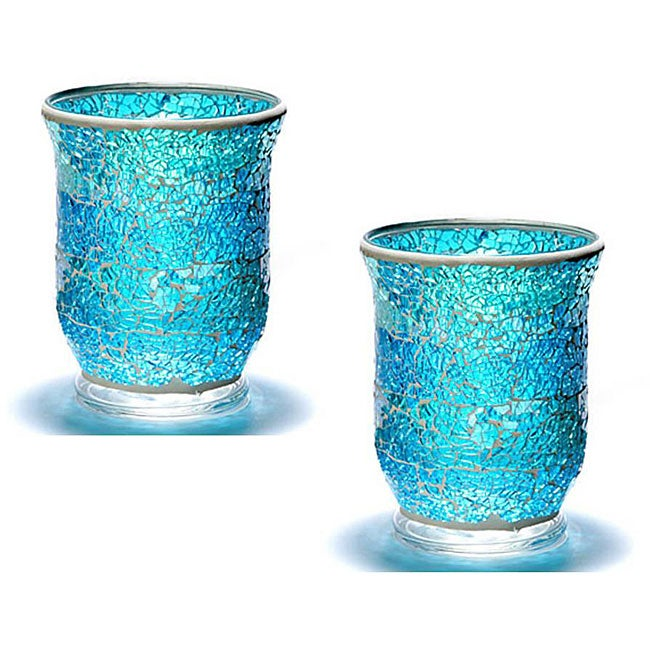 Crackle Glass Azure Mosaic Hurricane Candle Holders (Set ...
