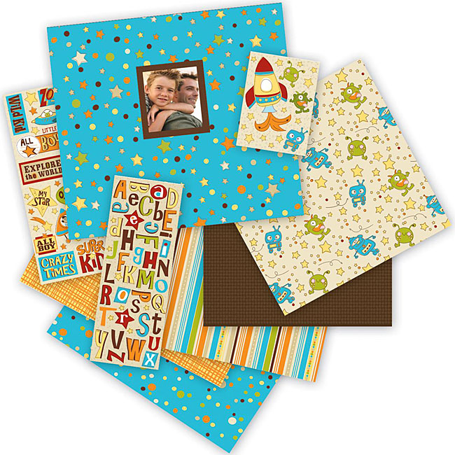 'Rowdy Boy' 86-piece 12x12-inch Scrapbook Album Kit