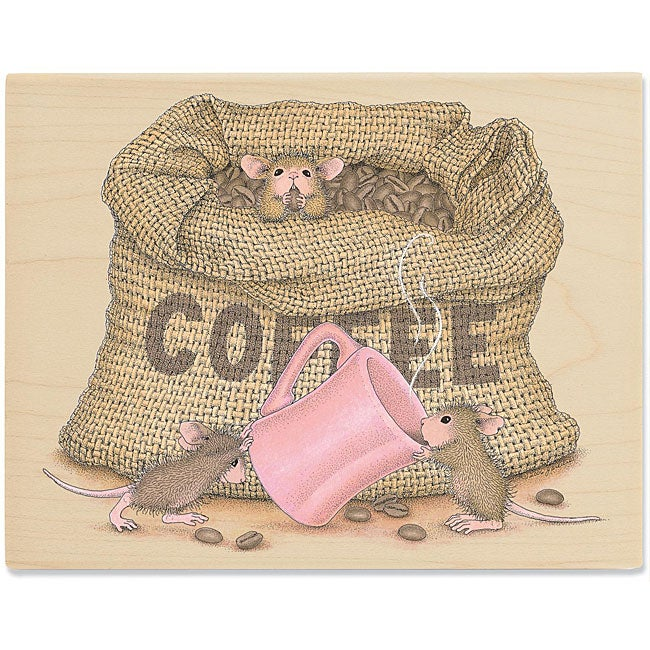 House Mouse 'The Need for Caffeine' Wood-mounted Rubber Stamp