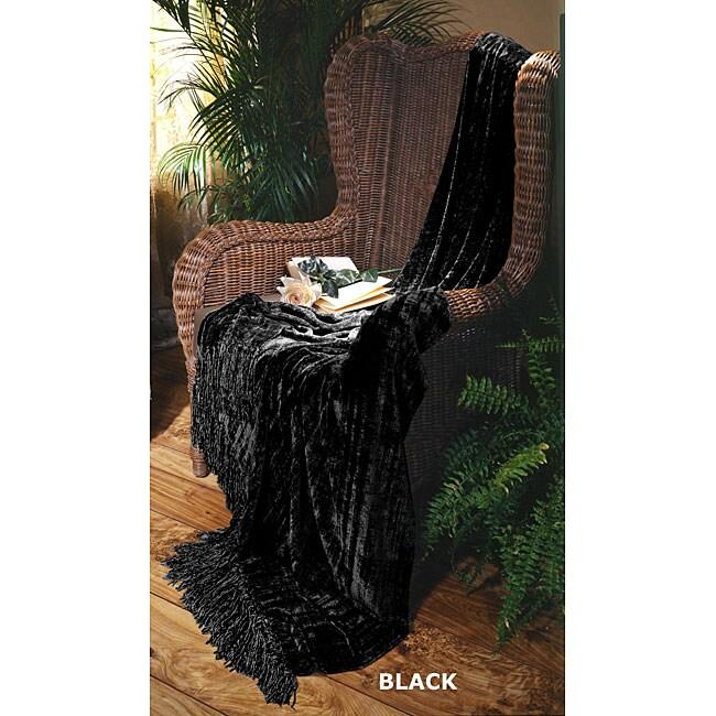 Illumina Chenille Black Throw Blanket