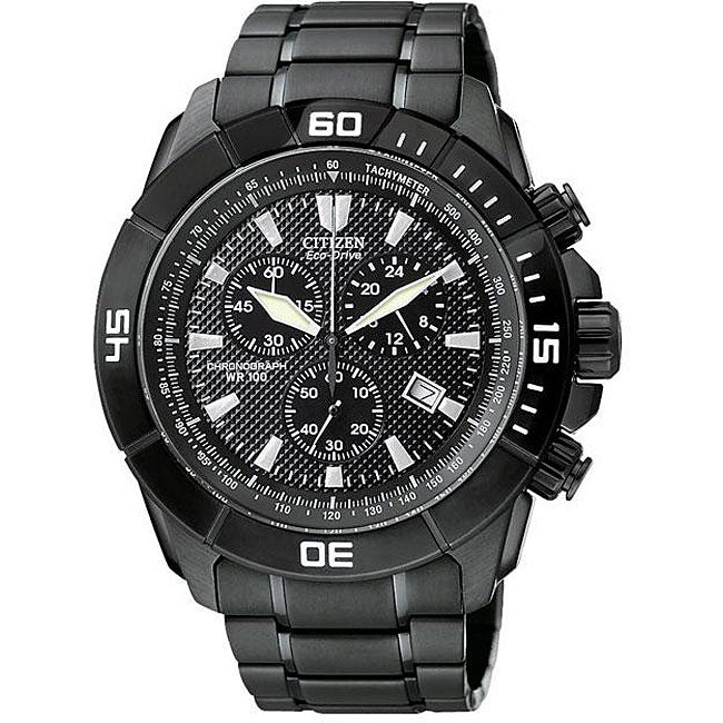 Citizen Men's Eco-Drive Ion-plated Black Chronograph Watch