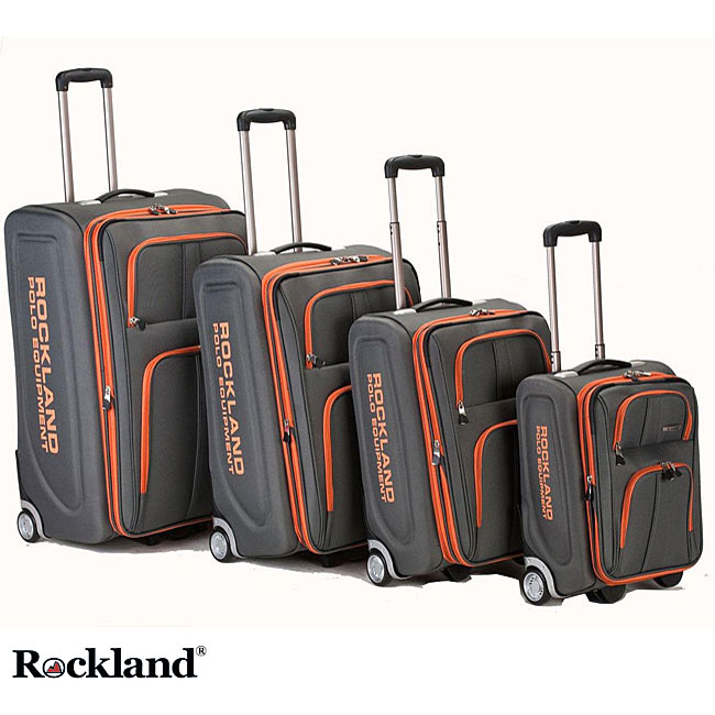 Rockland Polo Equipment Olympian 4-piece Charcoal Expandable Luggage Set - Thumbnail 0