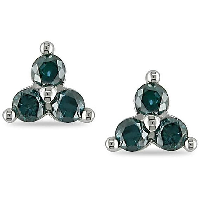 Miadora 10k White Gold 1/2ct TDW Blue Diamond Earrings