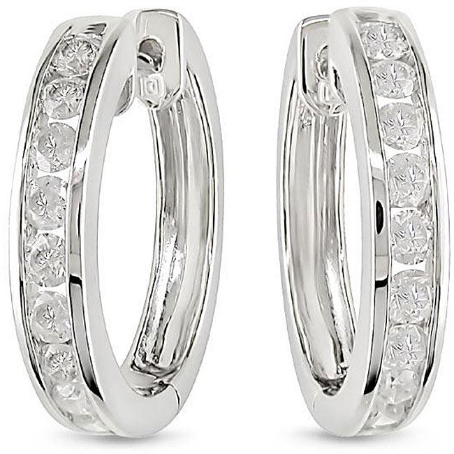 14k White Gold 1ct TDW Diamond Cuff Earrings