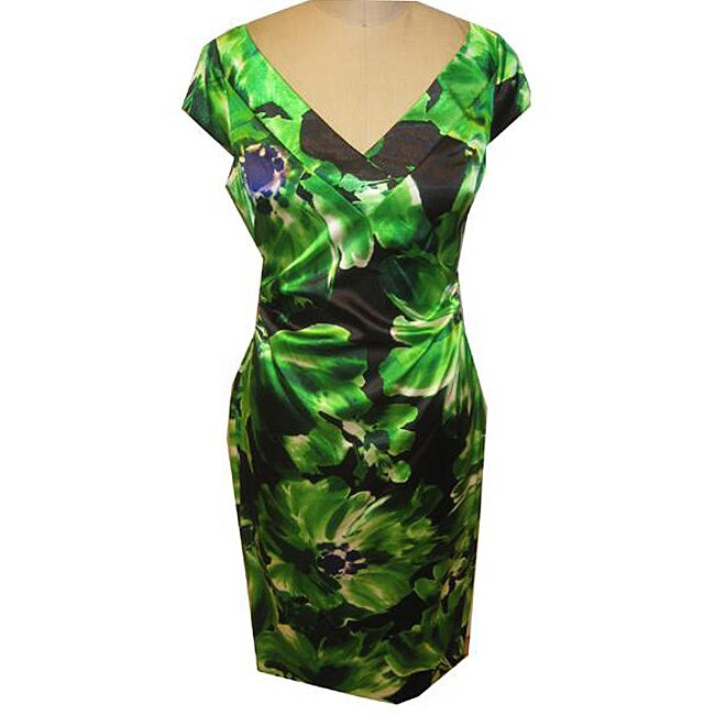 8ca68764b64 Shop Maggy London Women s Green Printed Stretch Satin Dress - Free Shipping  Today - Overstock - 4654886