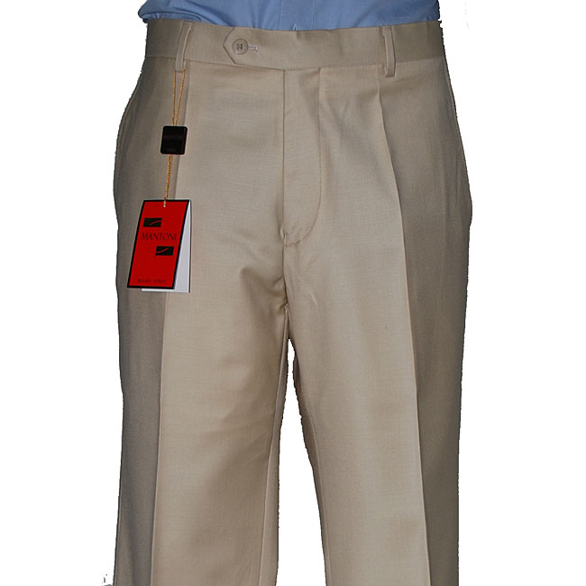Men's Camel Wool Flat-front Pants