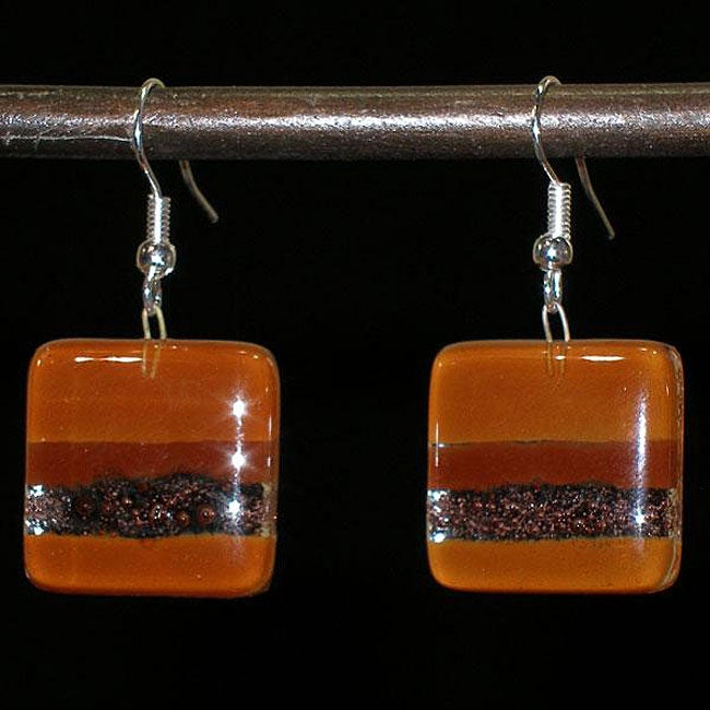 Caramel and Chocolate Fused Glass Earrings (Chile)