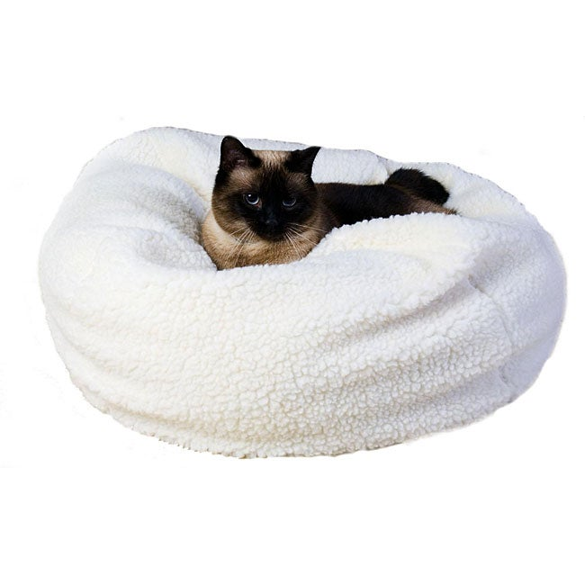 Excellent 18 Inch Sherpa Puff Ball Pet Bed Inzonedesignstudio Interior Chair Design Inzonedesignstudiocom