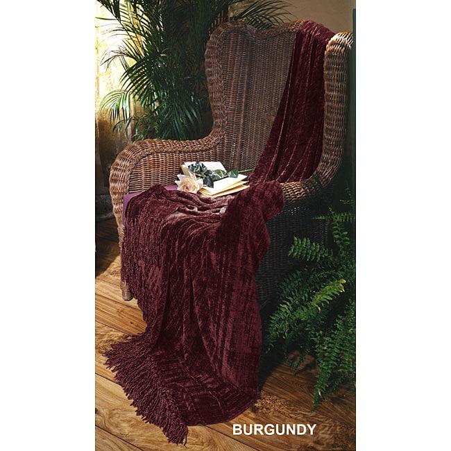 Illumina Chenille Burgundy Throw Blanket