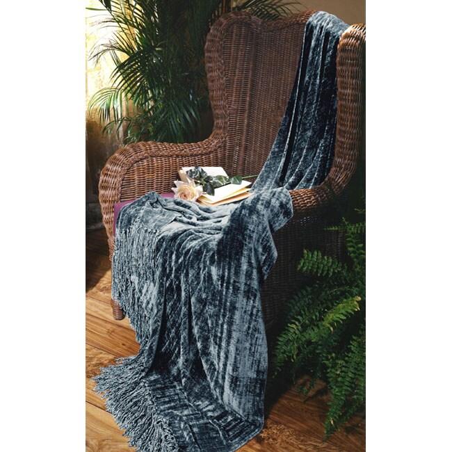 Illumina Chenille Indigo Blue Throw Blanket