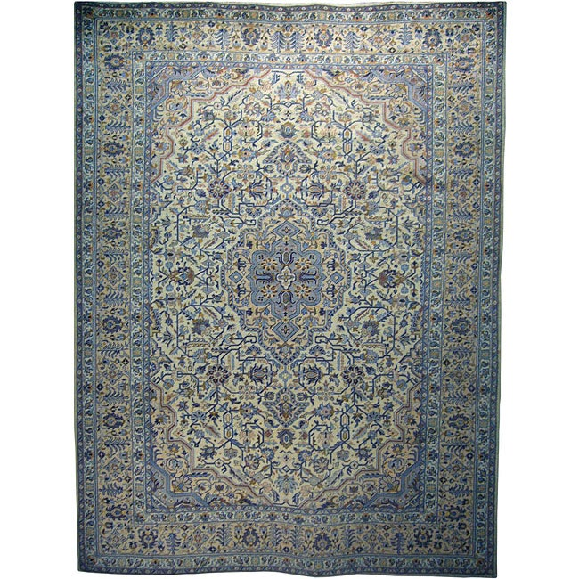Persian Hand-knotted Ivory Wool Kashan Rug (9'10 x 13)
