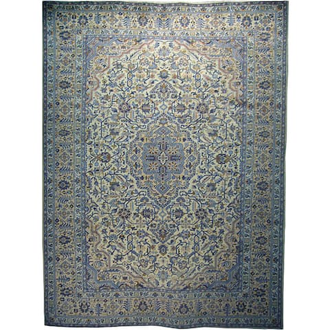 Handmade One-of-a-Kind Kashan Ivory Wool Rug (Iran)