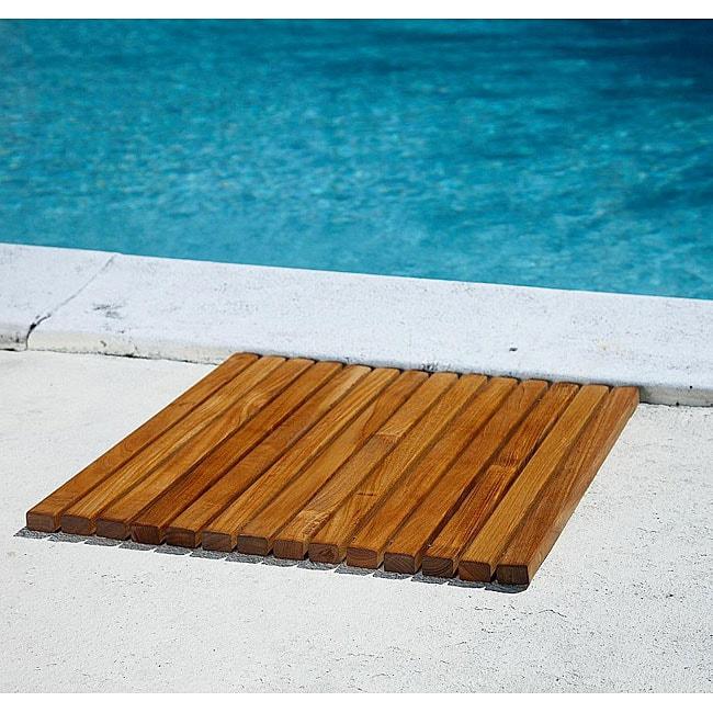 Square Teak String Poolmat
