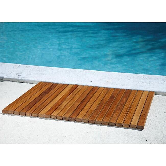 Rectangle Teak Wood String Poolmat