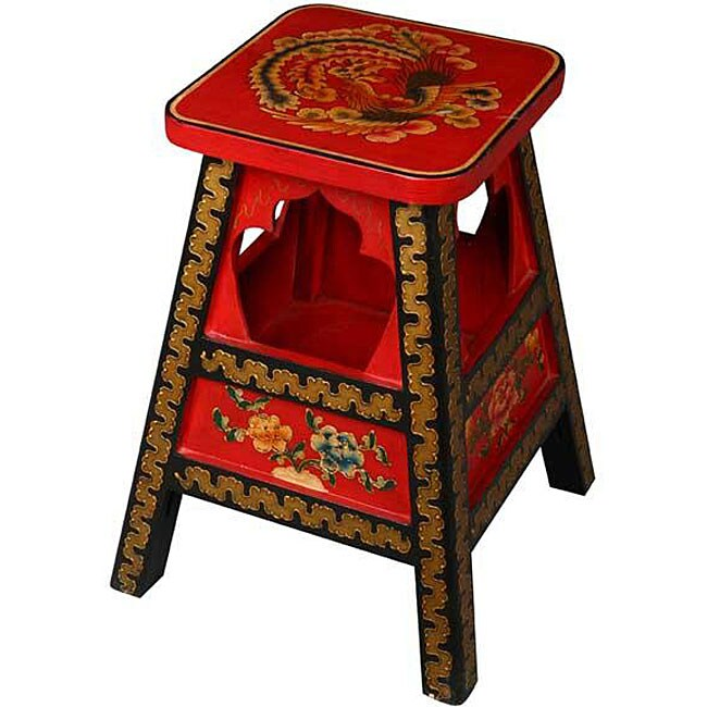 Red And Black Gold Trim Tibetan Stool/ End Table (China)
