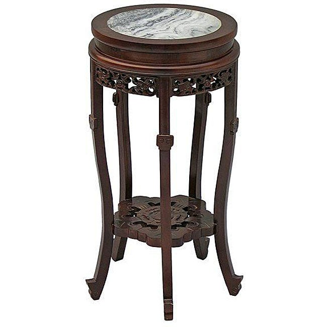 Handmade Classical-style Marble Top End Table (China)