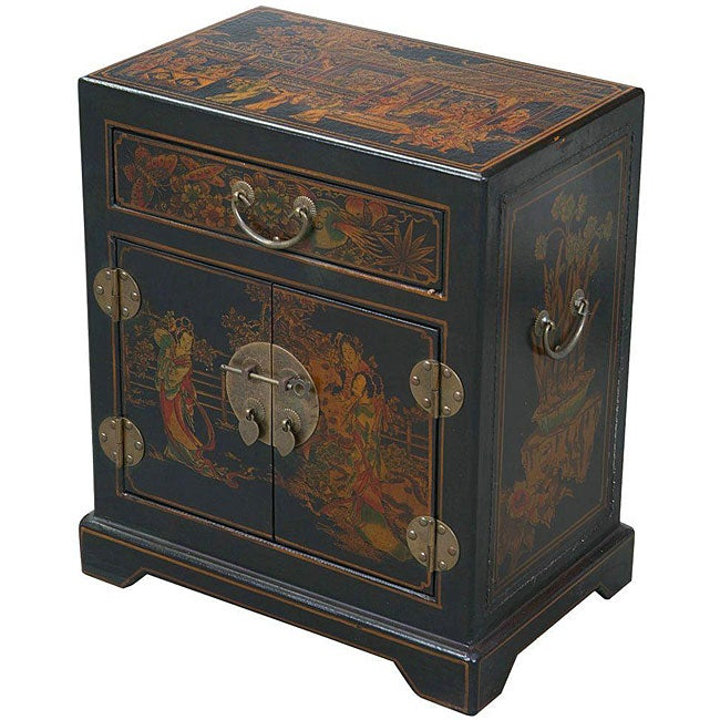 Black Leather Hand-painted Oriental Accent Table (China)