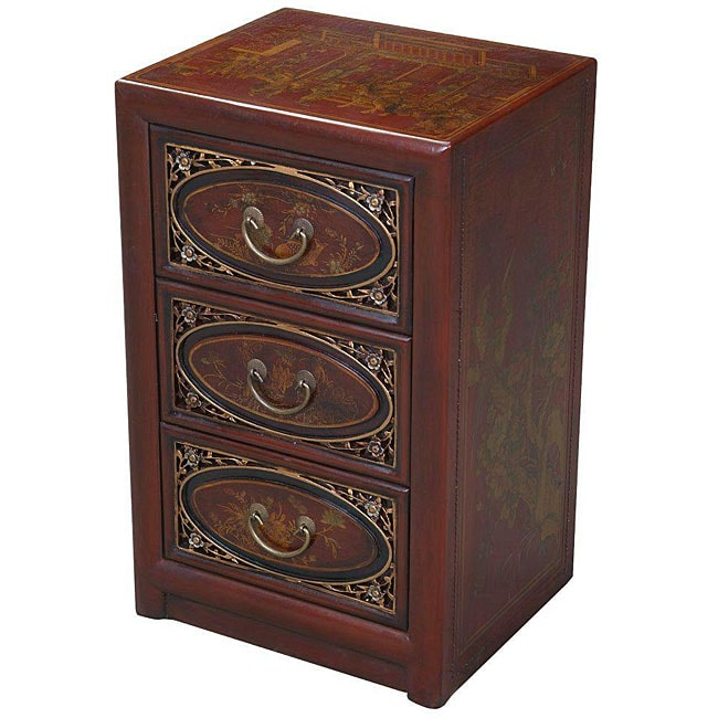 Hand-painted Red Leather Oriental Accent End Table (China)