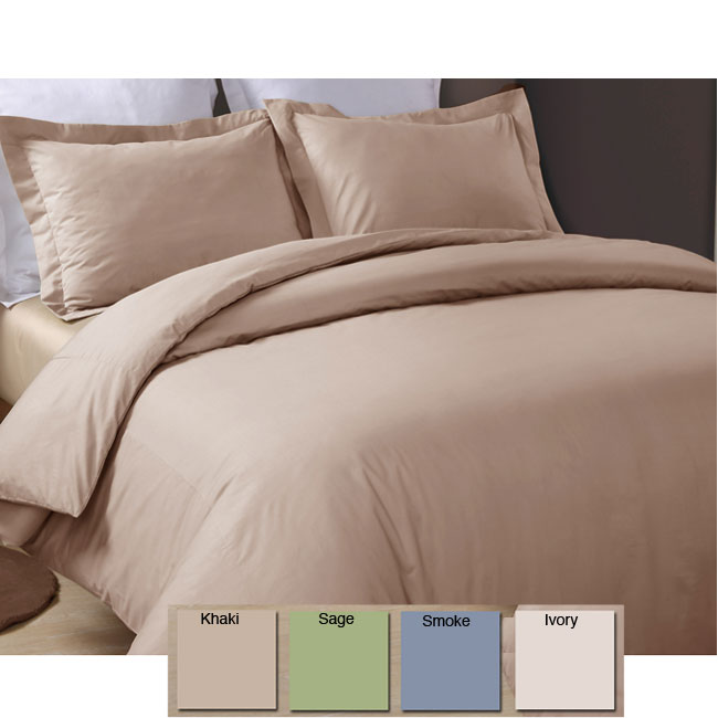 Egyptian Sateen 320 Thread Count Solid Duvet Cover Set