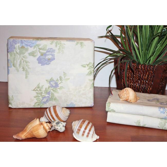Luxury Cotton Percale Floral 4-piece Sheet Set