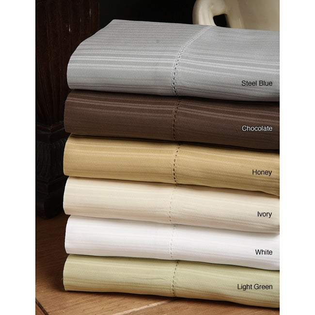 Andiamo 420 Thread Count Woven Stripe Egyptian Cotton Sheet Set