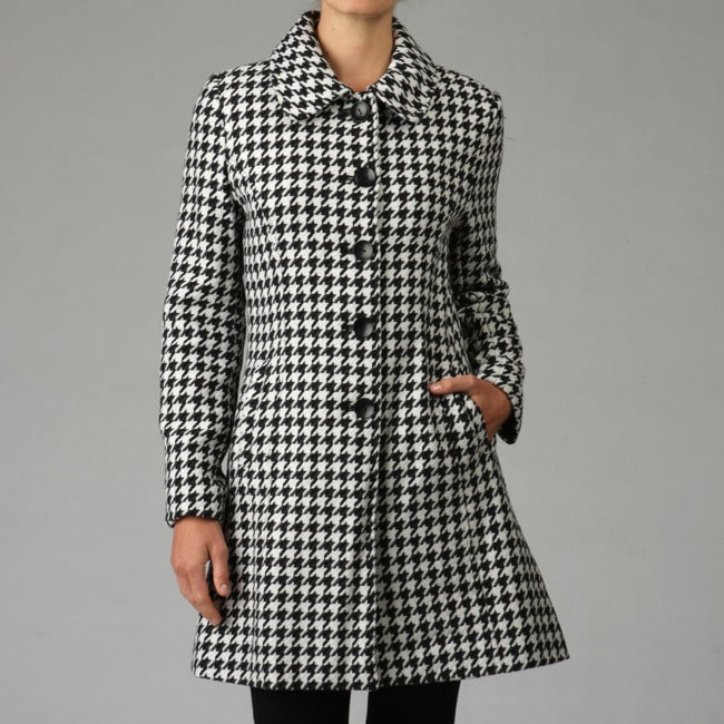 Women S Houndstooth Wool Coat Free Shipping Today