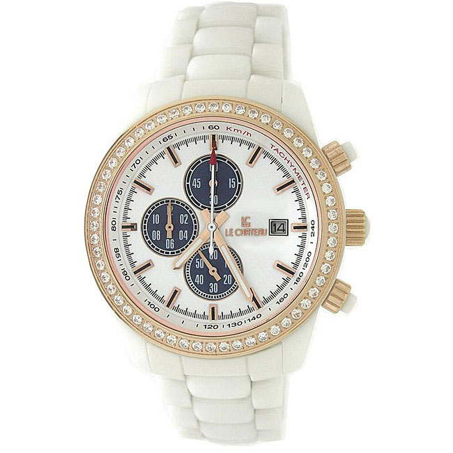 Le Chateau Men's 'Bello' Cubic Zirconia Gold and White Ceramic Watch