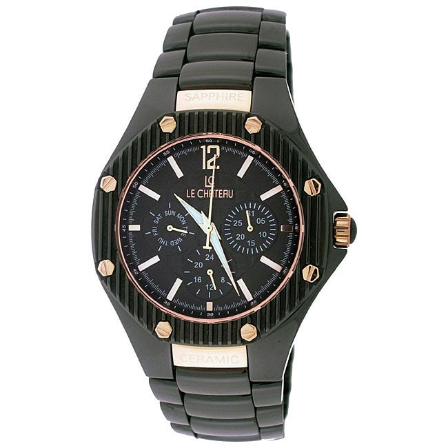 Le Chateau Men's 'Bello' Goldtone-accented Ceramic Watch