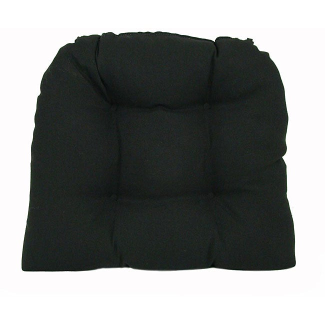 Solid Black Indoor/ Outdoor Dining Chair Pads (Set of 2)