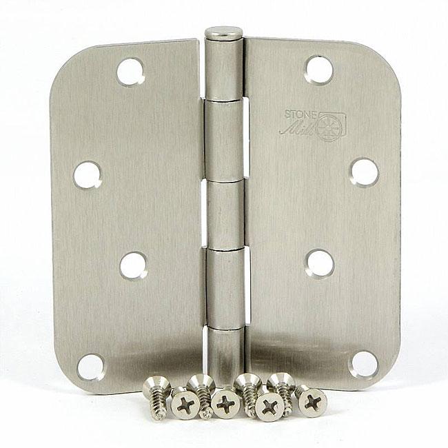 Stone Mill Satin Nickel 4-inch Door Hinge (Set of 2)