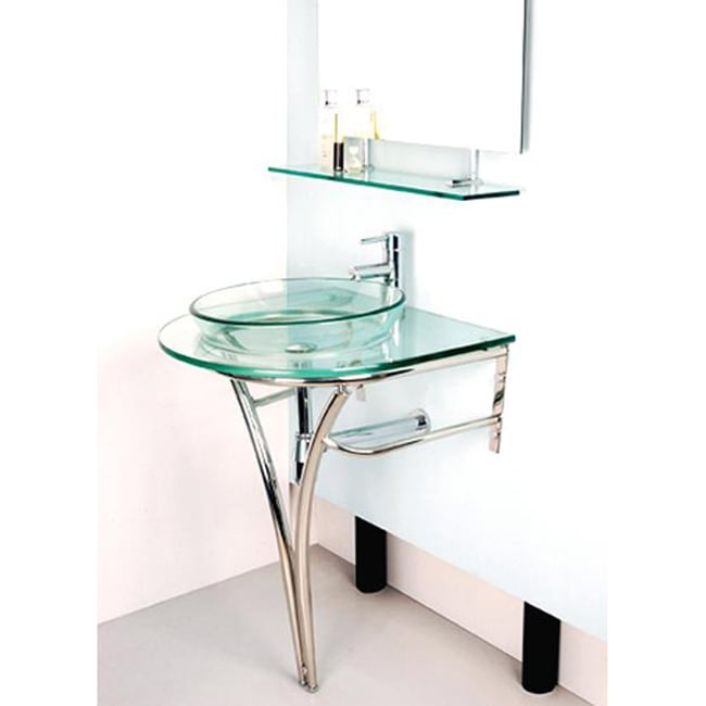 Pedistal Glass Sink with Stainless Steel Stand