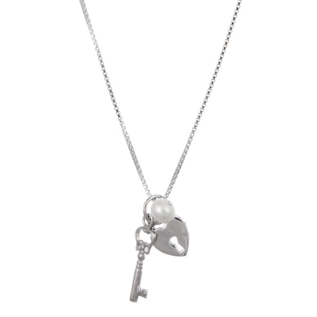 Kabella Sterling Silver Freshwater Pearl Key and Heart Necklace (5-5.5 mm)