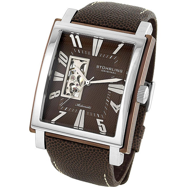 Stuhrling Original Men's 'Metropolitan' Brown Dial Automatic Watch