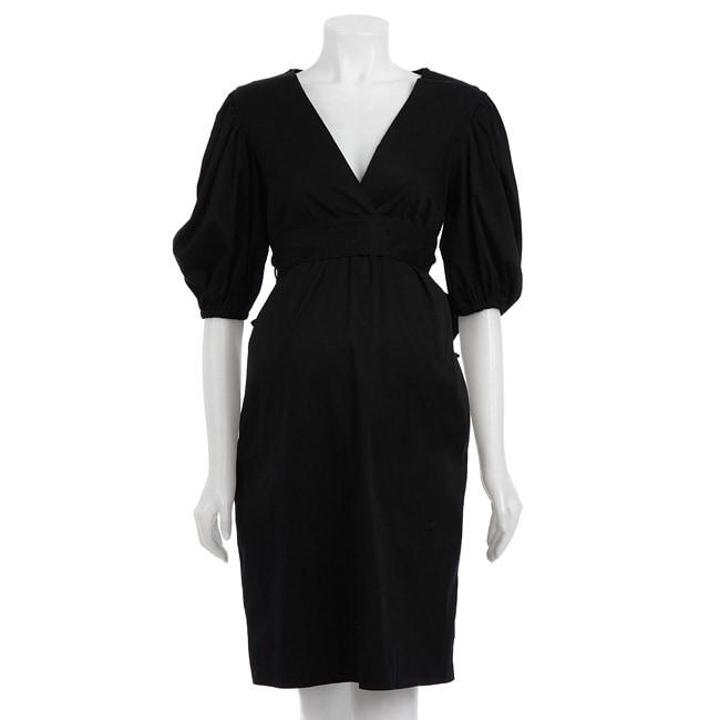 Olian Women's Maternity Black Puff Sleeve Dress