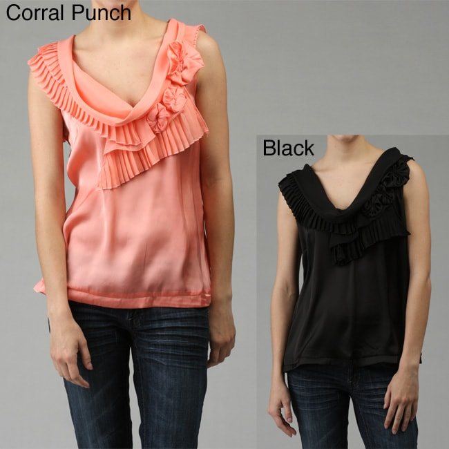 Sioni Women's Pleated Cowl Neck Blouse