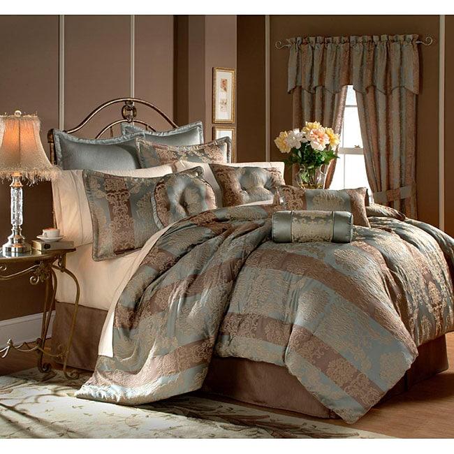 Branwell Stripe Blue and Mocha 20-piece Comforter Set