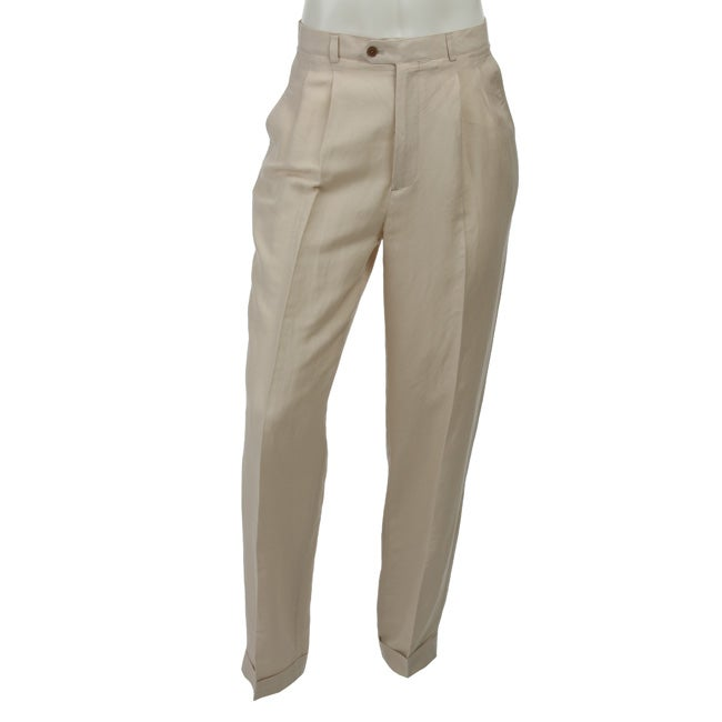 Oleg Cassini Men's Pleated Linen Pants - Free Shipping On Orders ...