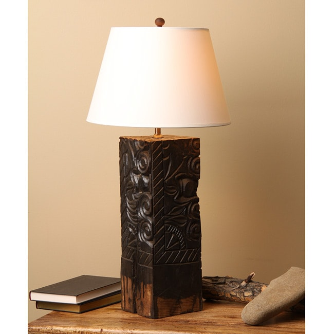 Reclaimed Wood Bracket Table Lamp (India) - Free Shipping Today - Overstock.com - 12596310