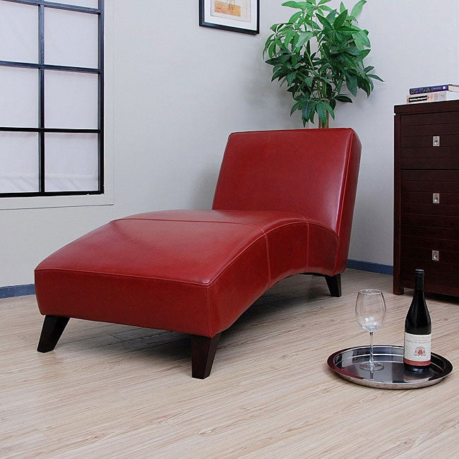 Cleo Burnt Red Leather Chaise Free Shipping Today