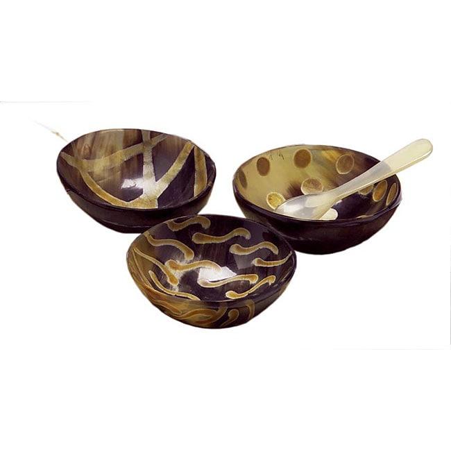 Set of 3 Buffalo Horn Sauce Bowls (India)