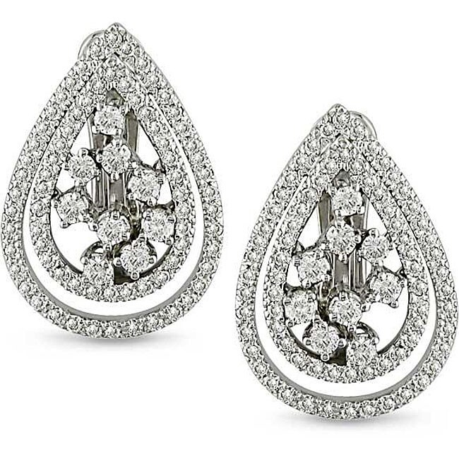 18k Gold 1 1/4ct TDW Diamond Tear Drop Earrings (G-H, SI1-SI2)