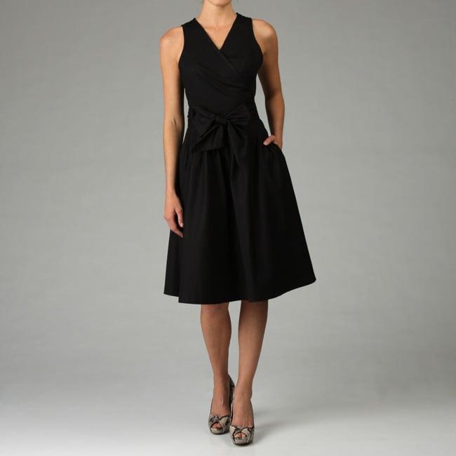 Sandro Women S Black Cotton Poplin Wrap Dress Free