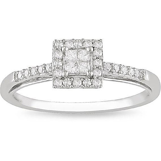 10k White Gold 1/5ct TDW Diamond Halo Ring (H-I, I1-I2)